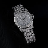 Silver Plated CZ Diamond Frozen Watch