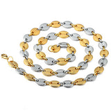18K Gold 2 Tone Oval Link Chain