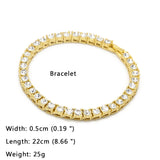 18K Gold Tennis Chain Set