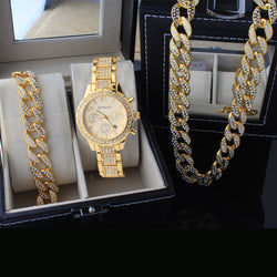 Cuban Links Watch Set