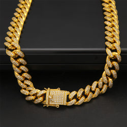 CZ Diamond 18K Gold Miami Cuban Link Chain
