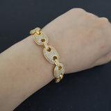 18K Gold Colored Diamond Oval Link Bracelet