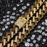 2 Tone Diamond Prong Cuban Link Chain