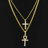 18K Gold Diamond Ankh and Cross Set