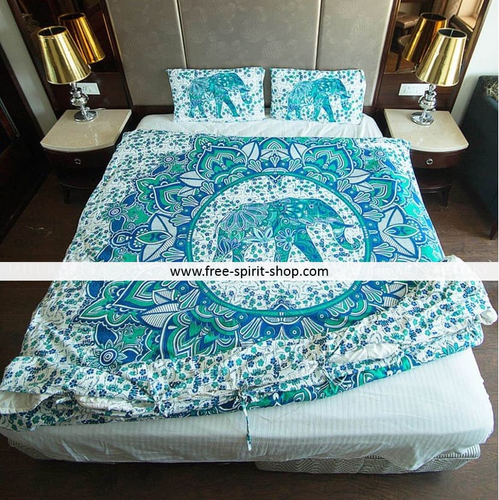 100% Cotton Atharva Mandala Duvet Cover / Bedding Set - Twin or Queen Size - Free Spirit Shop