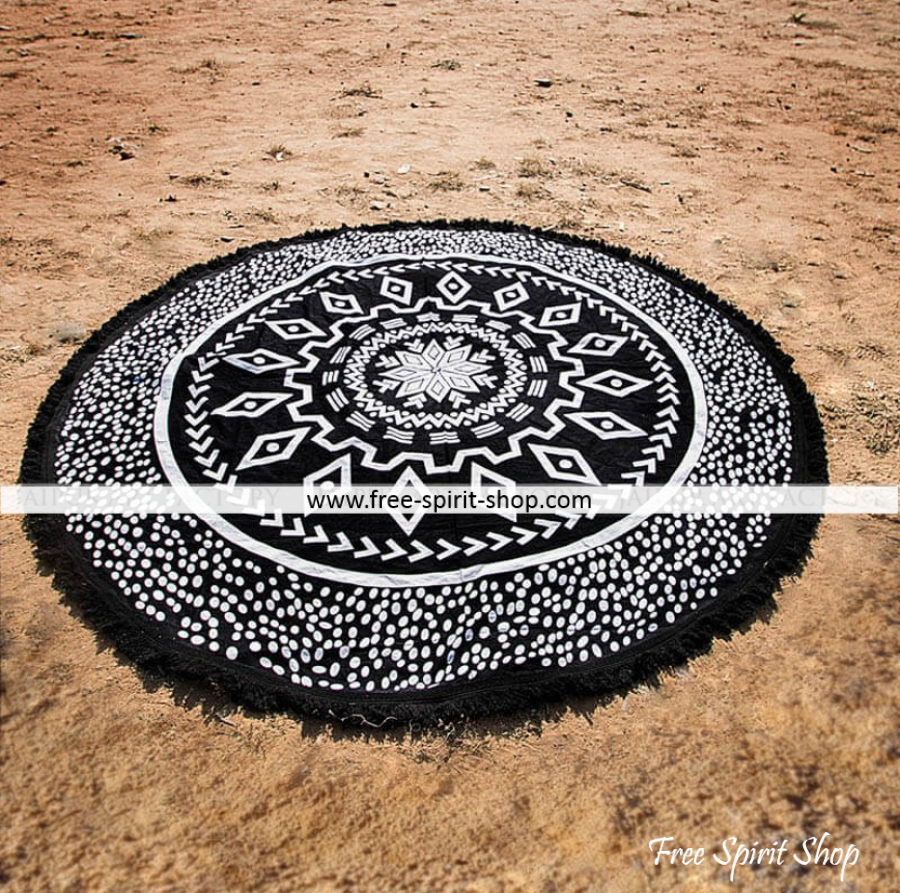 100% Cotton Black and White Raver Roundie - Free Spirit Shop