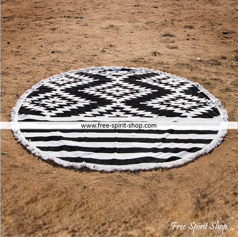 100% Cotton Black and White Sansayi Roundie - Free Spirit Shop