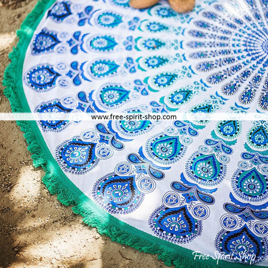 100% Cotton Blue and White Ganga Mandala Roundie With Tassels - Free Spirit Shop