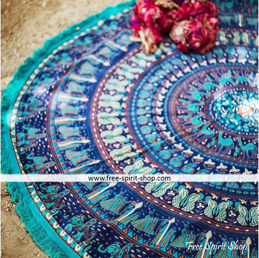 100% Cotton Blue Chandra Mandala Roundie With Tassels - Free Spirit Shop