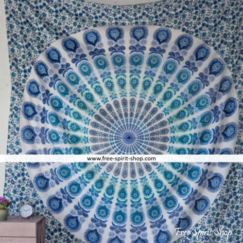 100% Cotton Blue Ganga Mandala Tapestry - Free Spirit Shop