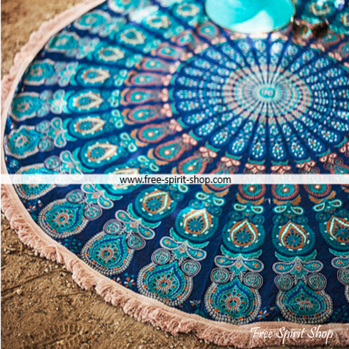 100% Cotton Blue Shiva Mandala Roundie With Tassels - Free Spirit Shop