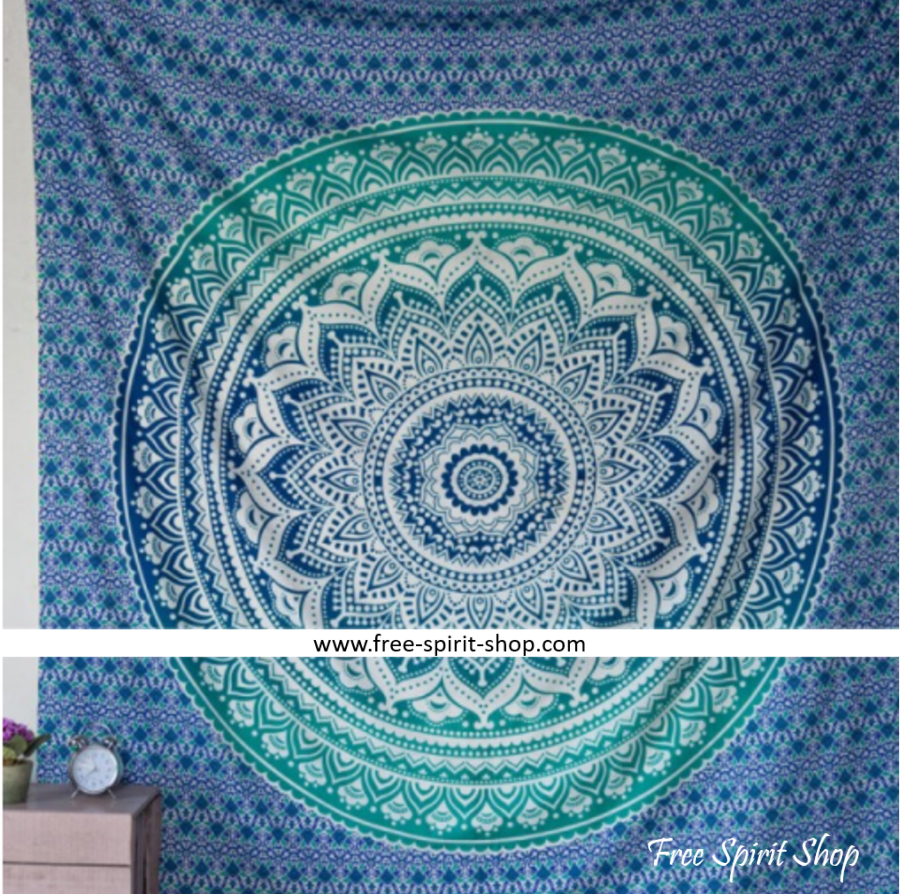 100% Cotton Blue Soma Mandala Tapestry - Free Spirit Shop