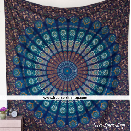 100% Cotton Blue Vishnu Mandala Tapestry - Free Spirit Shop