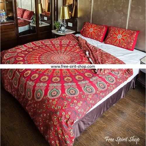 100% Cotton Brahma Mandala Duvet Cover / Bedding Set - Twin or Queen Size - Free Spirit Shop