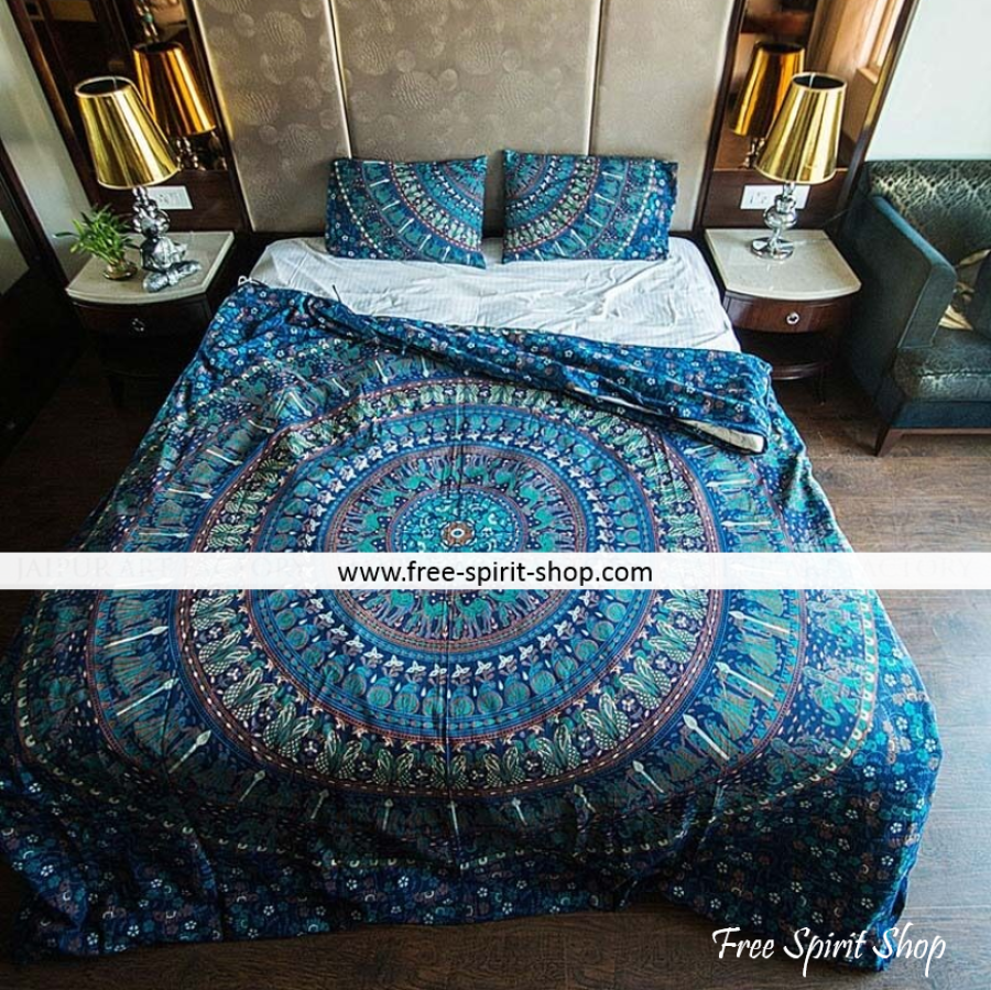 100% Cotton Chandra Mandala Duvet Cover / Bedding Set - Twin or Queen Size - Free Spirit Shop
