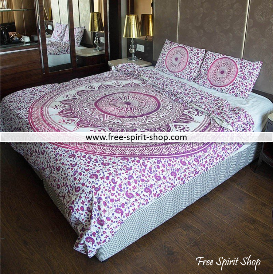 100% Cotton Ellora Mandala Duvet Cover / Bedding Set - Twin or Queen Size - Free Spirit Shop