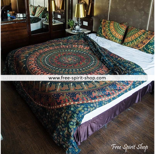 100% Cotton Gaja Mandala Duvet Cover / Bedding Set - Twin or Queen Size - Free Spirit Shop