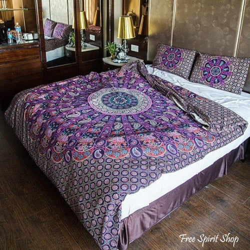 100% Cotton Ghoomer Mandala Duvet Cover / Bedding Set - Twin or Queen Size - Free Spirit Shop