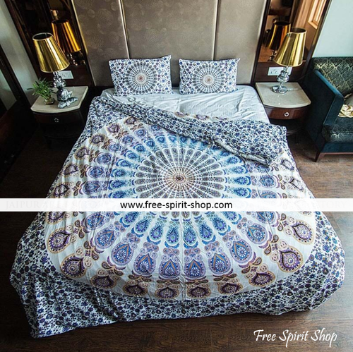 100% Cotton Lotus Mandala Duvet Cover / Bedding Set - Twin or Queen Size - Free Spirit Shop