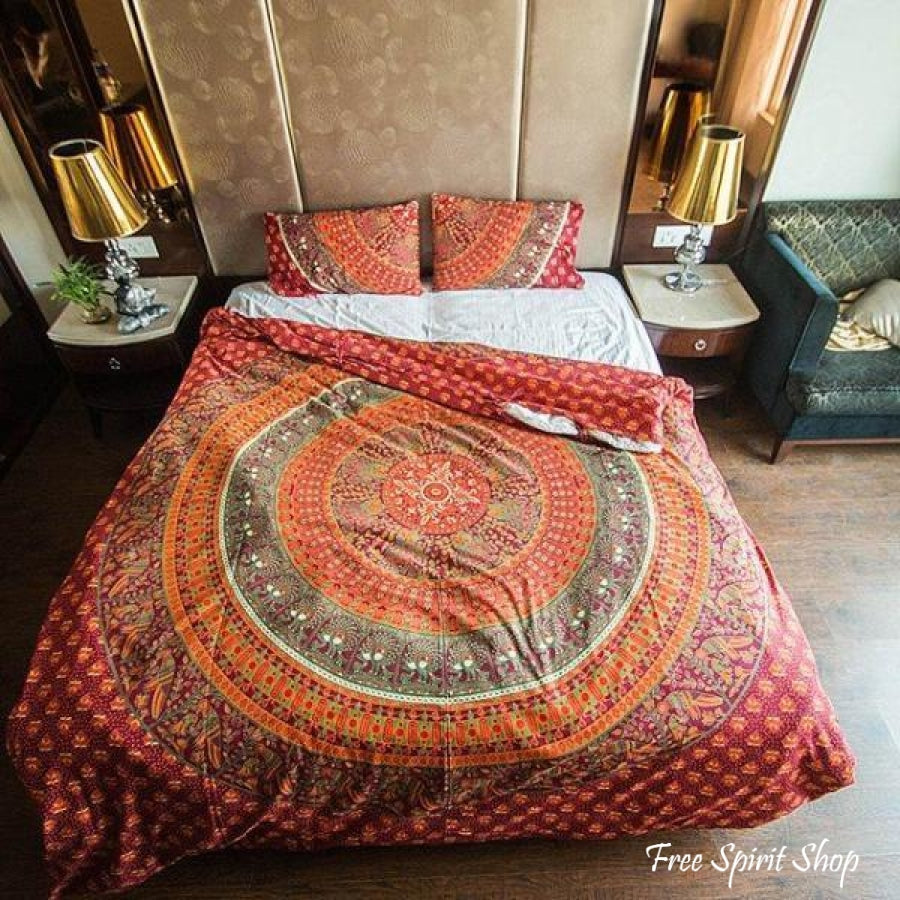 100% Cotton Maruti Mandala Duvet Cover / Bedding Set - Twin or Queen Size - Free Spirit Shop