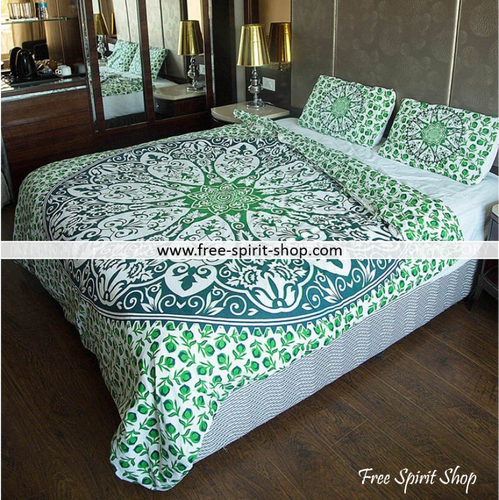 100% Cotton Maya Mandala Duvet Cover / Bedding Set - Twin or Queen Size - Free Spirit Shop