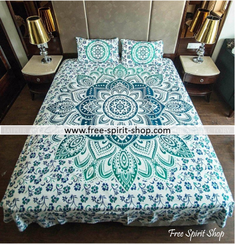 100% Cotton Mayura Mandala Duvet Cover / Bedding Set - Twin or Queen Size - Free Spirit Shop