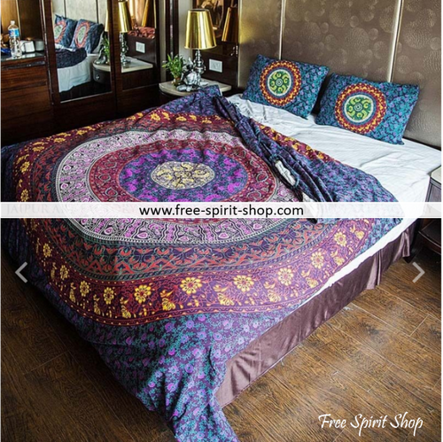 100% Cotton Paithvi Mandala Duvet Cover / Bedding Set - Twin or Queen Size - Free Spirit Shop