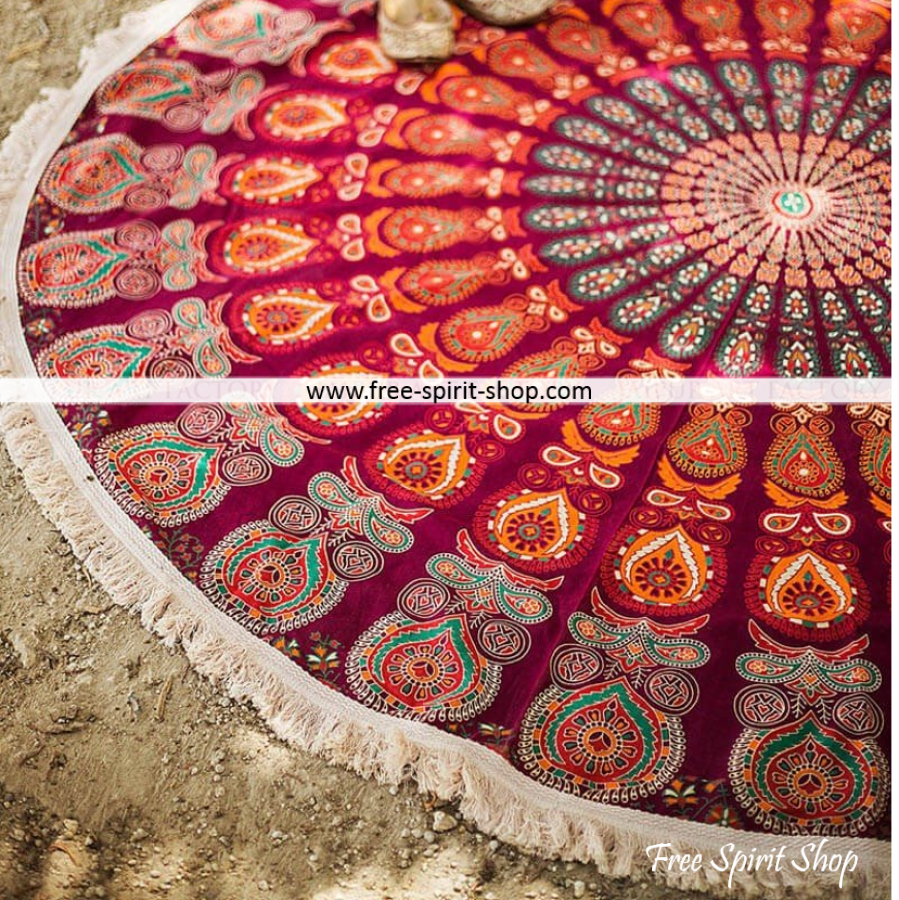 100% Cotton Parwati Mandala Roundie With Tassels - Free Spirit Shop