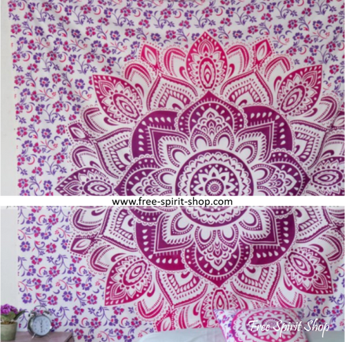 100% Cotton Pink Shoora Mandala Tapestry - Free Spirit Shop
