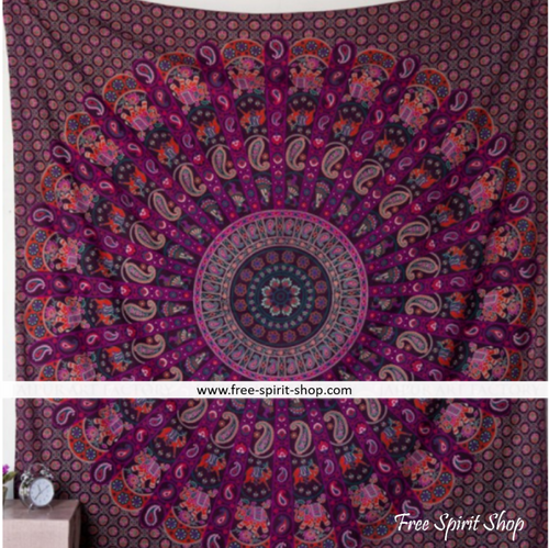 100% Cotton Purple Ghoomer Mandala Tapestry - Free Spirit Shop
