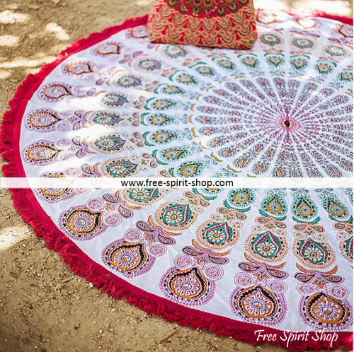 100% Cotton Raksha Mandala Roundie With Tassels - Free Spirit Shop