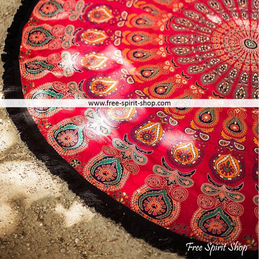 100% Cotton Red Brahma Mandala Roundie With Tassels - Free Spirit Shop
