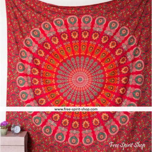 100% Cotton Red Brahma Mandala Tapestry - Free Spirit Shop