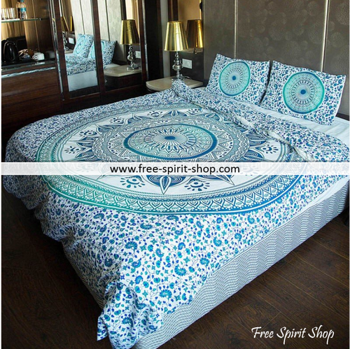 100% Cotton Sanchi Mandala Duvet Cover / Bedding Set - Twin or Queen Size - Free Spirit Shop