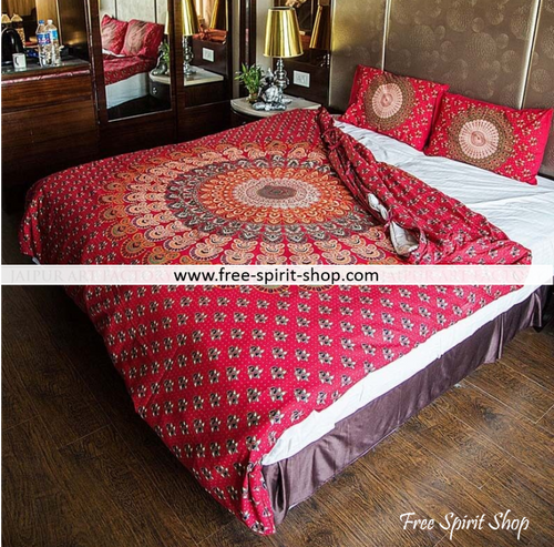 100% Cotton Surya Mandala Duvet Cover / Bedding Set - Twin or Queen Size - Free Spirit Shop