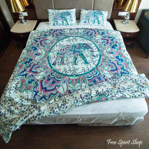 100% Cotton Teej Mandala Duvet Cover / Bedding Set - Twin or Queen Size - Free Spirit Shop