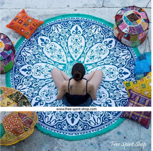 100% Cotton Turquoise Prana Mandala Roundie With Tassels - Free Spirit Shop