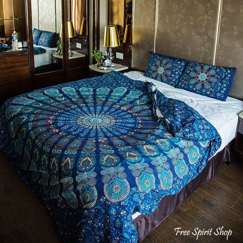 100% Cotton Vishnu Mandala Duvet Cover / Bedding Set - Twin or Queen Size - Free Spirit Shop