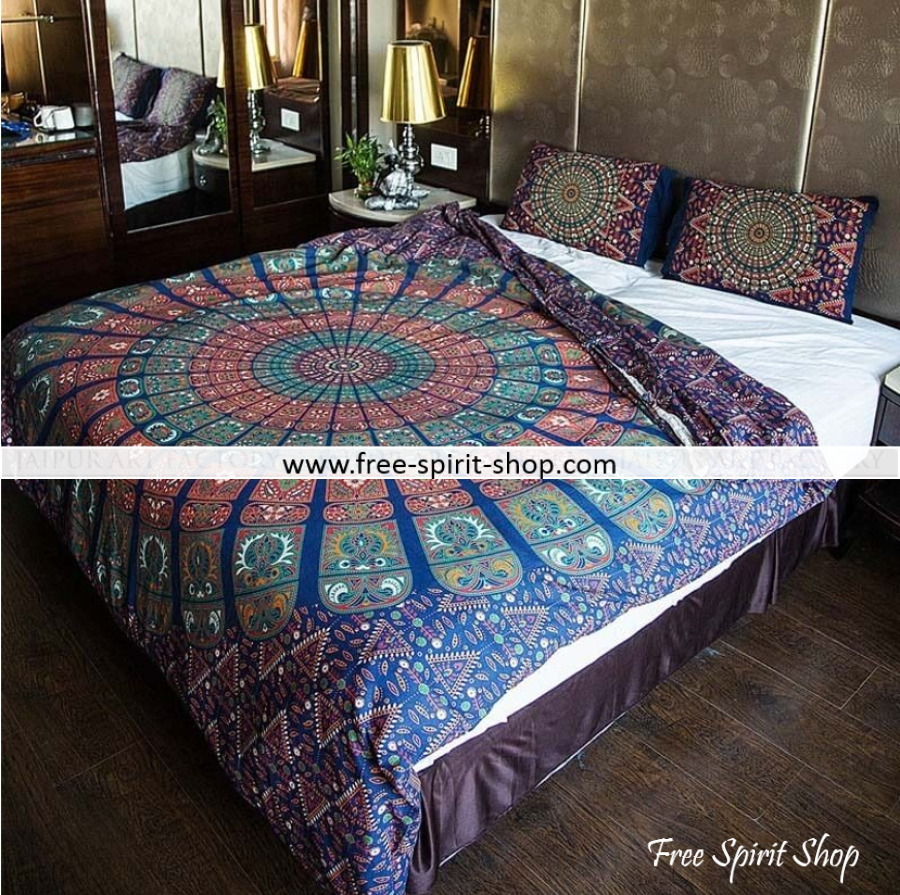 100% Cotton Vyom Mandala Duvet Cover / Bedding Set - Twin or Queen Size - Free Spirit Shop