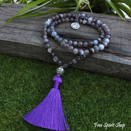 108 Natural Amethyst & Aquamarine Gemstone Mala Bead Necklace - Free Spirit Shop