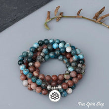 108 Natural Aqua Apatite & Red Stone Mala Bracelet - Free Spirit Shop