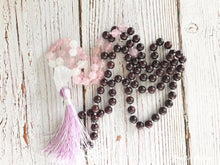 108 Natural Garnet & Rose Quartz Mala Beads Necklace - Free Spirit Shop