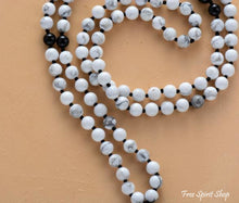 108 Natural Howlite & Black Onyx Mala Beads Prayer Necklace - Free Spirit Shop