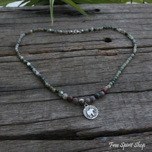 108 Natural Indian Agate Mala Necklace With Elephant Pendant - Free Spirit Shop