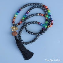 108 Natural Labradorite 7 Chakra & Rudraksha Mala Bead Necklace - Free Spirit Shop