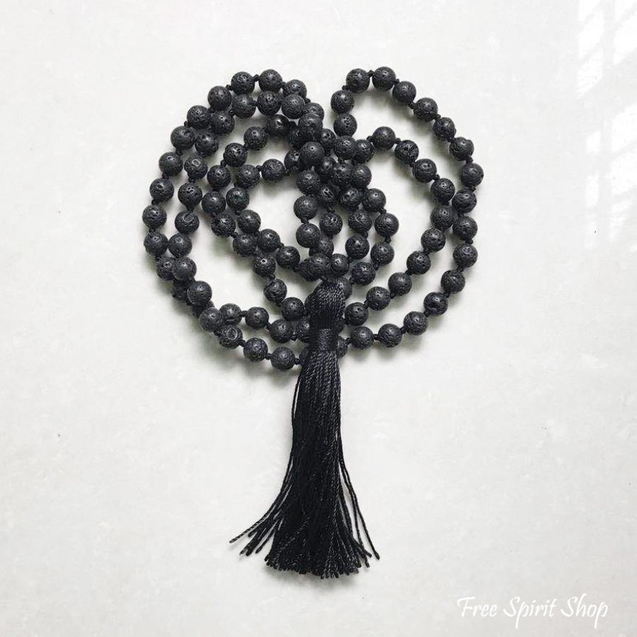 108 Natural Lava Stone Mala Prayer Beads With Tassel - Free Spirit Shop