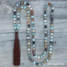108 Natural Matte Amazonite Stone Bead Mala Prayer With Tassel - Free Spirit Shop