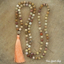 108 Natural Matte Yellow Jasper Mala Bead Necklace - Free Spirit Shop
