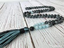 108 Natural Obsidian Snowflake & Aquamarine Stone Mala Prayer Beads - Free Spirit Shop