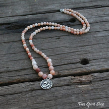 108 Natural Pink Aventurine Mala Necklace With Ohm Pendant - Free Spirit Shop